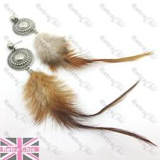 NATURAL bird FEATHER long EARRINGS vintage silver fashion BROWN/BEIGE/WHITE wild