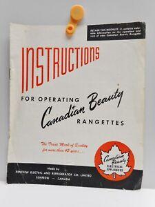 Vintage - Canadian Beauty RANGETTES - Operating instructions Booklet - Renfrew