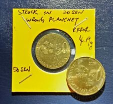 ERROR COIN WRONG PLANCHET MALAYSIA 50SEN 2014 YEAR STRU ON 20 SEN