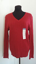Laura Scott Sweater Size L Red Long sleeved V Neck Cable Knit Womens Winter Top