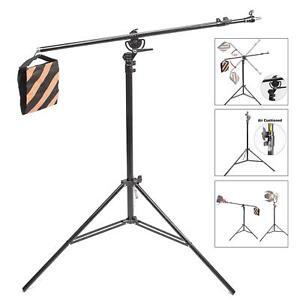 Studio Light Stand Boom Arm 2in1 390cm Photo Photography Grip Softbox Metal UK