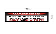 WARNING DONT TOUCH MY RIDE STICKER DECAL HARLEY DAVIDSON SOFTAIL SPORTSTER