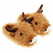ebc3eb66f7a82 Aroma Home FUZZY FRIENDS SLIPPERS Brown HIGHLAND COW UK Size 4 to 7