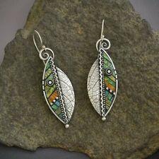Boho Green Leaf Earrings Drop Dangle Hook Ethnic Abstract Women Jewelry Charm