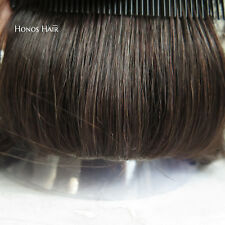 Hairpieces Poly Skin Hair Replacement System for Men Toupee Wig Human Hair #2
