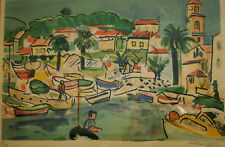 "François DESNOYER (1894-1972). Lithographie "" Scène de port"". v829"