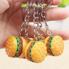 Novelty Food Resin Hamburger Key Ring - 3D Burger Keyrings Keychain Pendant Gift