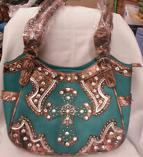 Beautiful Turquoise and Camo Rhinestone and Studded Cross Purse Shoulder Bag