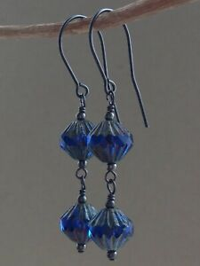 Czech Blue & Rustic Grey Glass Beads Oxidized Sterling Silver Earrings