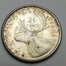 1963 Canada 25 Twenty Five Cents Uncirculated Quarter Canadian Coin C662