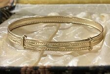 """Vintage 9k Gold Baby Infant Bracelet """"Grows"""" With Child Expanding"""