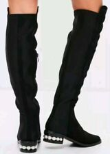 CATHERINE MALANDRINO black BOOTS PEARL HEEL SIZE 7 new