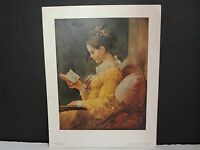 A YOUNG GIRL READING- by Jean-Honoré Fragonard-1950's Reproduction Art Print !!