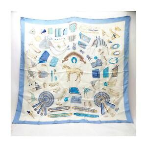 Hermes scarf  Carre 90   Light Blue Silk100% swanky 1419368