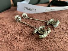 *CHANEL Crystal Classic CC logo Drop Dangling Chain Silver Earrings*
