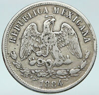 1874Go MEXICO Silver 50 Centavos Antique Mexican Coin Eagle Liberty Sword i87087