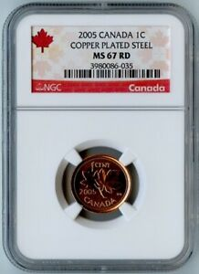2005 CANADA NGC MS67 RD COPPER PLATED STEEL ONE CENT 1C!