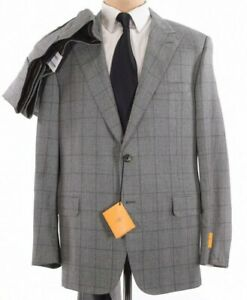 Hickey Freeman NWT Suit Size 46L In Gray & Black Glen Plaid Bedford $1,695