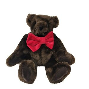 """16"""" Vermont Teddy Bear Stuffed Plush Jointed Dark Brown Red Bow Tie"""