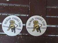 PAIR OF BALMAIN LEAGUES CLUB TIGERS VINTAGE BEER COASTERS