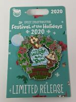 Disney Chip And Dale 2020 Epcot Festival Of The Holidays LR Christmas Wreath Pin