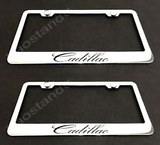 2x Cadillac STAINLESS Chrome License Plate Frame w/screw Caps