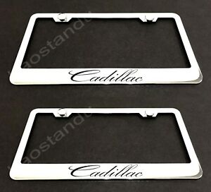 2xCadillac STAINLESS Chrome License Plate Frame w/screw Caps