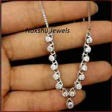 15.00ct Off White Round Real moissanite Necklace 925 Sterling silver -18 inch