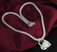 Women FASHION Double Heart Silver Charm Pendant Necklace Girl Jewelry Gift