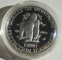 DR Kongo 10 Francs 2000 Tiere Berggorilla Silber