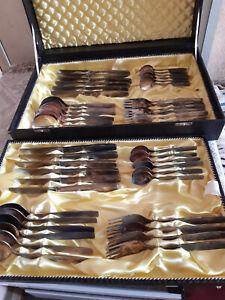 alter Besteckkasten 12 Personen 90er Silberauflage