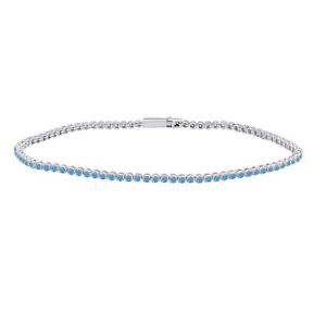 """2.20mm Turquoise Round Cut Link Tennis Bracelet 7"""" in 14K White Gold Over Silver"""