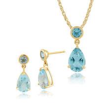 Gemondo 9Ct Oro Amarillo 3.24 Ct Topacio Azul Pendientes & 45cm Necklace Set
