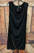 ABS Allen Schwartz Lane Bryant Women Black Metallic Stretch Sleeveless Dress 2X