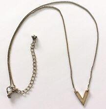 Collar de Bisutería, Mujer Metal Dorado Carta V Colgante con Cadena, Seminuevo
