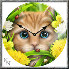 GLASS WALL CLOCK LINDA M JONES SUMMER CAT YELLOW FLOWERS NEW & BOXED NEMESIS NOW