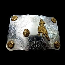 Rodeo Belt Buckle - Cowboy - Silver/Nickel - Vintage