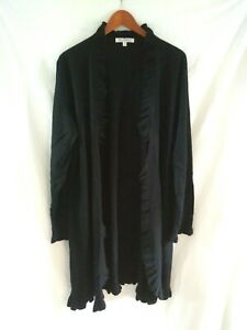 Womens Plus Size TravelSmith Black Ruffled Open Front Cardigan Sweater  Duster3X