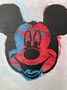 Hasworld Original,painting signed Not Banksy abstract Expressionism Mickey Mouse