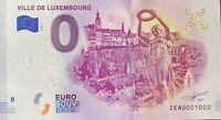 BILLET 0  EURO  VILLE DE LUXEMBOURG 2019  NUMERO 1000