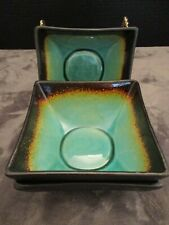 JADE MOON BY HOME SQUARE TURQUOISE & BROWN CRACKLE GLASS 3 CEREAL BOWLS