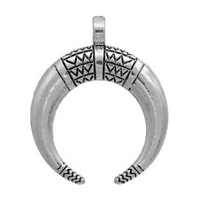 5 HORN charms, Silver Metal, Double Horn, Crescent Moon Atlantis  34mm chs2461