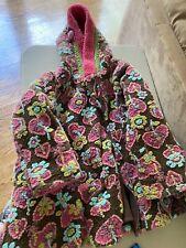 Corky & Company Girls Fleece Flowers Winter Dress Coat Lined Hooded Pink  Size 6