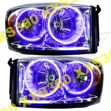 ORACLE Halo 2x HEADLIGHTS for Dodge Ram 07-08 PURPLE LED Angel Eyes CHROME
