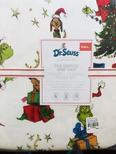 Pottery Barn Kids The Grinch & Max Cotton Full Sheet Set Flannel Christmas