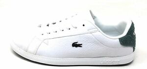 Lacoste Womens Graduate Lace Up Flat Sneakers White Dark Green Suede Size 6.5