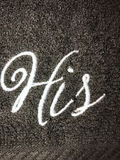 Embroidered Black Cotton  Bathroom Hand Towel  HS1192  HIS
