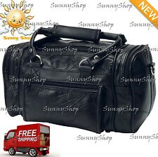 New Black Leather Shave Kit Bag Travel Carry On Tote Duffle Satchel Mens Womens