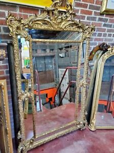 Extra Large Gold Frame Mirror - Gilded Beveled Carved Roses - WOW
