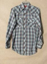 S5911 Chute #1 Men's Med. Est. Blue Plaid Long Sleeve Pearl Snap Western Shirt